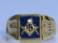Masonic Mason Blue Enamel Compasses Clear Austrian Crystal Men's Ring Size 12