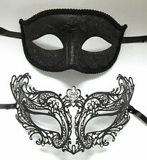 Royal Men Woman Couple Black Metal Glitter Venetian Masquerade Ball Mask Masks