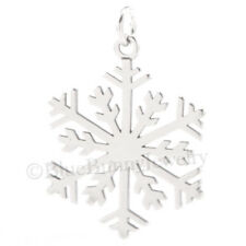 Pretty 3D CHRISTMAS SNOWFLAKE winter snow Charm Pendant 925 Sterling Silver 1""