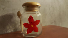 Hand Painted Red Flower Tea / Aromatherapy glass jar with wooden lid and spoon