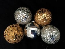 VINTAGE LOT SILVER GOLD GLITTER UNBREAKABLE CHRISTMAS BALL DISCO ORNAMENTS