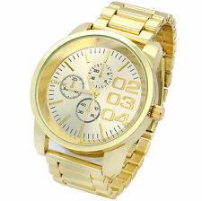 Mens Gold Plated Metal Band Silver Face Fashion Casual Quartz Wrist watches 0123