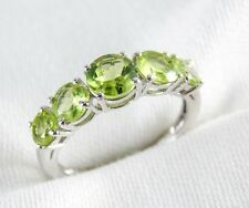 Genuine Peridot 5 Stone Ring 2.80ct in 925 Sterling Silver Size 6 List $290.00