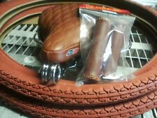 Beach Cruisers Bicycle Brown Seat Saddle / Tires & Grips Lowrider Chopper Bike