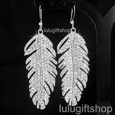WHITE GOLD PLATED FEATHER STYLE DANGLE CHANDELIER EARRINGS USE SWAROVSKI CRYSTAL