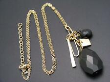 "$18 Rachel Inc Black Stone Cluster Charm Necklace Goldtone Beaded 33"" Long"