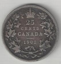 CANADA, 1902-H,  25 CENTS,  SILVER,  KM#11,  FINE