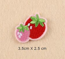 STRABERRY EMBROIDERED FABRIC APPLIQUE SEW IT / IRON ON PATCH BADGE