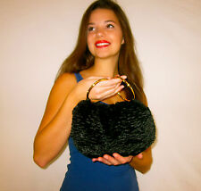 Authentic Kate Spade NY Amanda Bracelet Bag Clutch faux fur black lamb evening