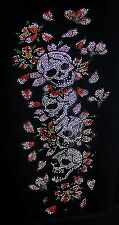 SKULLS AND ROSES   rhinestone  Iron on Transfer Hot Fix NO SHIRT