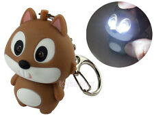 Brown Squirrel Key Chain Ring with LED Light and Animal Sound