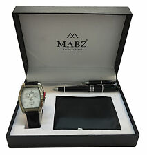 Mabz London Gift Set with Paper Cutter, Pencil, wallet & Men's/Boy's Wrist Watch