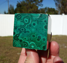 Big SOLID Green MALACHITE Crystal CUBE Sacred Geometry Stone Copper ORBS GALORE