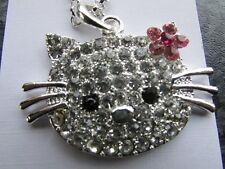 silver plated necklace pendant 28 inch metal chain round diamante kitty cat