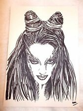 A4 Black Ink Marker Pen Sketch Drawing Uma Thurman as Posion Ivy from Batman