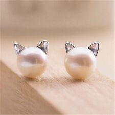 Gt HOT Fashion Womens Korea Elegant Cute Pearl Cat Kitten Head Stud Earrings