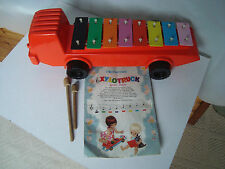 VINTAGE MOTHERCARE XYLOTRUCK XYLOPHONE STICKS AND SHEET MUSIC PULL ALONG TRUCK