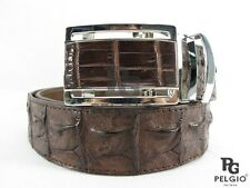 "PELGIO Genuine Crocodile Alligator Backbone Skin Leather Men Belt 46"" Long Brown"