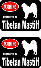 2 protected by Tibetan Mastiff dog car bumper home window vinyl decals stickers