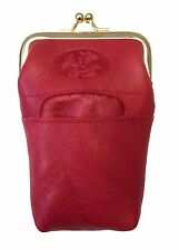 New Buxton Women Leather Cigarette Case Holder with Lighter Pocket - Red