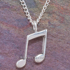 """925 sterling silver MUSICAL NOTE musician Charm Band Pendant chain 24"""" Necklace"""