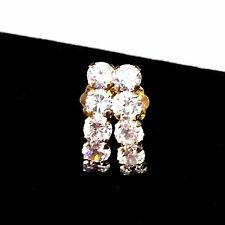 10K Yellow Gold Cubic Zirconia CZ Small Crescent Hoop Post Style Earrings