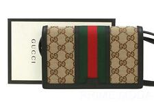 NEW GUCCI LADIES BLACK LEATHER VINTAGE WEB  LOGO WALLET CROSS BODY SMALL BAG