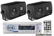 "NEW Pyle Marine AM/FM USB/SD iPod AUX Receiver Stereo + 2 x 3.5"" 200W Speakers"