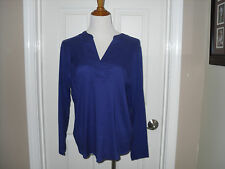 New Chico's Pieced Quincy Top/Blouse  Size 2 (12-14) Carbon Blue Long Sleeve