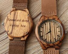 Mens Boyfriend Husband Anniversary Birthday Gift Wooden Wood Personalized Watch
