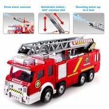 """Kids Toy Fire Truck Rescue Fighters Ladder Vehicle Lights Sounds Water Pump 10"""""""