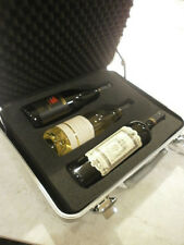 WINE CARRIER & CASE for 3 BOTTLES - FOAM insulated MOLDED ALUMINUM CASE KEY LOCK