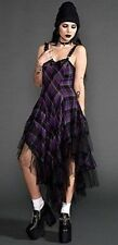Lip Service Plaid Ruffle Purple Black Women Prom Dress XS