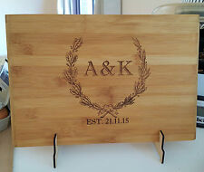 Personalized cutting board, wedding, christmas gift, house warming, free stand