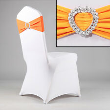 New Spandex Wedding Party Chair Cover Band Sashes With Heart Buckle Bow Slider Q