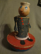 Antique 1930s Patriotic Navy Sailor Nautical Wood Wobble Baby Child Toy