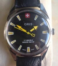 Rare Vintage Oris Watch Swiss Made Serviced Working New Strap Black Dial