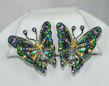 18K WHITE GOLD DIAMOND GARNET SAPPHIRE MOTHER OF PEARL BUTTERFLY OMEGA EARRINGS