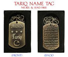 """""""TARIQ"""" Mens Arabic Name Necklace Tag - Birthday Wedding Ayatul Kursi Eid Gifts"""