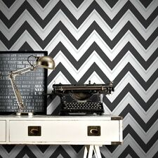 Scala Black and White Zigzag Wallpaper Modern Large Chevron by Rasch 304107