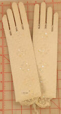Beautiful High Qality Ivory Stretch Fishnet Gloves w/ Sequins & Beads mid length