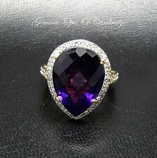 18ct Gold Pear cut Moroccan Amethyst and Diamond Ring Size O 6.24g 13.48 carats