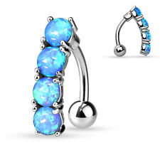 Reverse/Top Down Blue OPAL Drop BELLY Button NAVEL RINGS Studs Piercing Jewelry