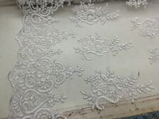 White Flower Embroider And Corded Lace fabric-Wedding-Bridal-prom-sold by yard.