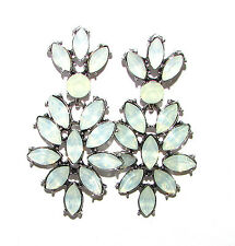 Long Simulated Opal Earrings Mint Green White Silver Art Deco Stud Drop Vtg 1107