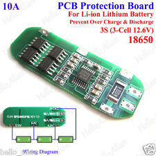 3S 10A Li-ion Lithium 18650 Battery Cell Charger BMS Protection PCB Board 12.6V