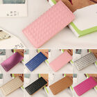 Fashion Women Leather Clutch Wallet Weave Long Card Holder Case Purse Handbag