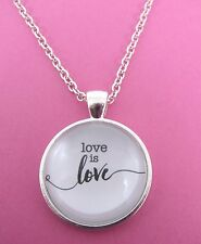 "Love is Love Silver Plated Glass 18"" Necklace New in Gift Bag Pride Valentines"