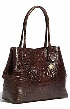 ❤BRAHMIN ANYTIME TOTE TRUFFLE BROWN CROC SHOPPER ALL DAY LEATHER BAG ~ COCOA ❤