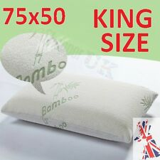 LARGE KING SIZE Bamboo Pillows Memory Foam Anti-Allergic Fabric Hypoallergenic